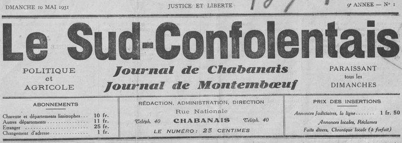 Photo (BnF / Gallica) de : Le Sud-Confolentais. Chabanais, 1931-1932. ISSN 2100-6776.