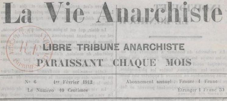 Photo (BnF / Gallica) de : La Vie anarchiste. Reims, 1911-1914. ISSN 2139-9042.