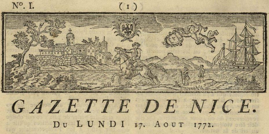 Photo (Bibliothèque municipale à vocation régionale (Nice)) de : Gazette de Nice. Nice, 1772-[1775 ?]. ISSN 2024-0821.