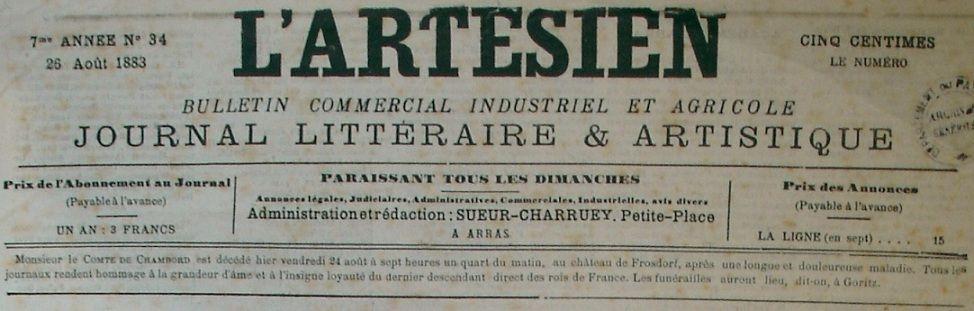 Photo (Société des amis de Panckoucke) de : L'Artésien. Arras, 1879-1914. ISSN 2121-0144.