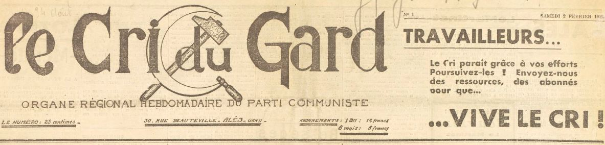 Photo (BnF / Gallica) de : Le Cri du Gard. Alès, 1935-1939. ISSN 2125-1010.