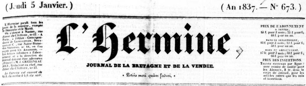 Photo (BnF / Gallica) de : L'Hermine. Nantes: Impr. de Hérault, 1834-1850. ISSN 2129-1594.