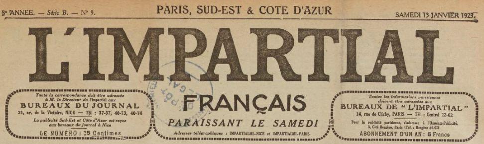Photo (BnF / Gallica) de : L'Impartial français. Édition de Nice. Paris, Nice, Perpignan, 1919-[1929?]. ISSN 2129-366X.