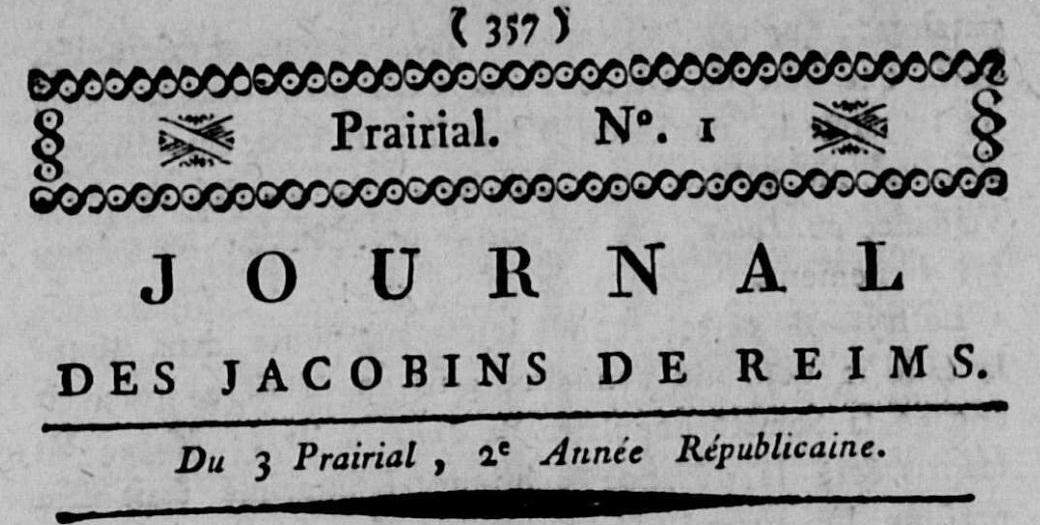 Photo (Calvados. Archives départementales) de : Journal des Jacobins de Reims. Reims, 1794. ISSN 2130-7466.