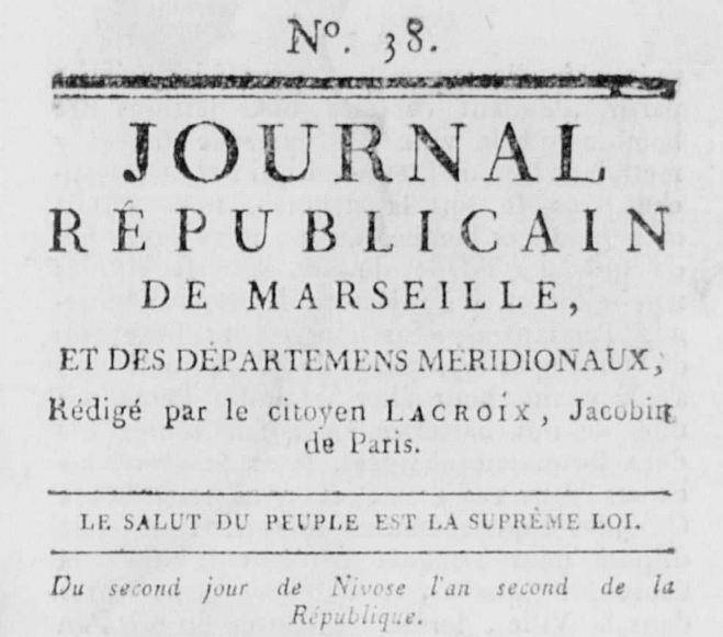 Photo (Calvados. Archives départementales) de : Journal républicain de Marseille, et des départemens méridionaux. Marseille, 1793-1794. ISSN 2021-5215.