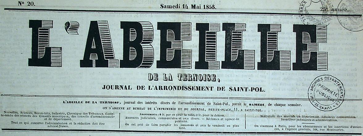 Photo (Société des amis de Panckoucke) de : L'Abeille de la Ternoise. Saint-Pol-sur-Ternoise, 1841-. ISSN 0397-2380.