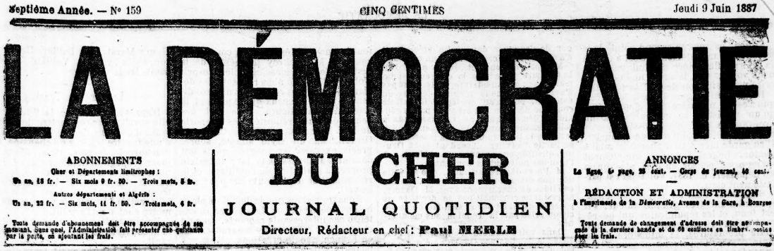 Photo (BnF / Gallica) de : La Démocratie du Cher. Bourges, 1881-1894. ISSN 0982-085X.