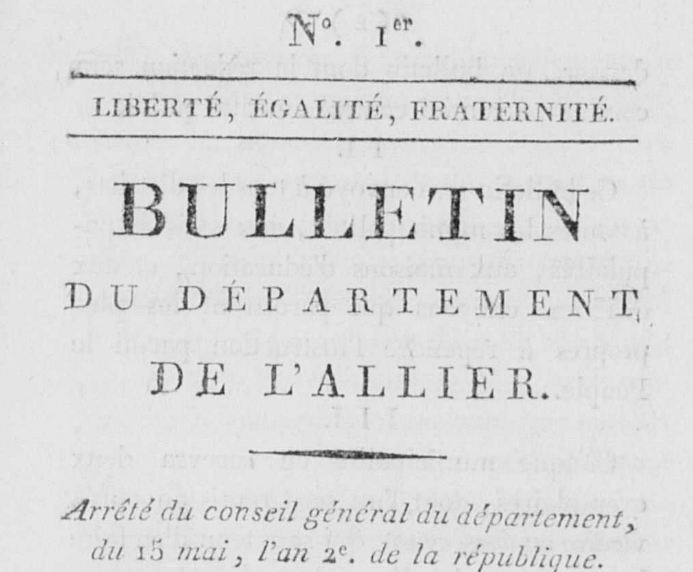 Photo (Calvados. Archives départementales) de : Bulletin du département de l'Allier. Moulins, 1793-1811. ISSN 1960-551X.