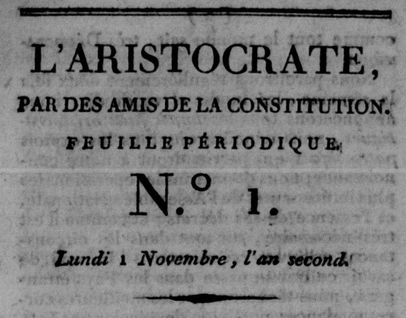 Photo (Calvados. Archives départementales) de : L'Aristocrate. Béthune, 1790-[1791 ?]. ISSN 2556-5427.