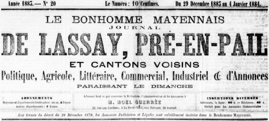 Photo (BnF / Gallica) de : Le Bonhomme mayennais. La Ferté-Macé, 1883-[1889 ?]. ISSN 2122-1057.