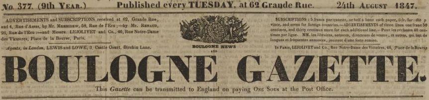Photo (BnF / Gallica) de : Boulogne news and Boulogne gazette. Paris, Boulogne, 1839-1863. ISSN 2122-191X.