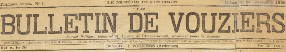 Photo (BnF / Gallica) de : Le Bulletin de Vouziers. Vouziers, 1882-[1898 ?]. ISSN 2103-1800.