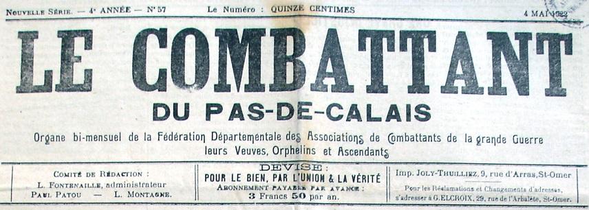 Photo (Société des amis de Panckoucke) de : Le Combattant du Pas-de-Calais. Saint-Omer, 1919-1971. ISSN 2124-1457.