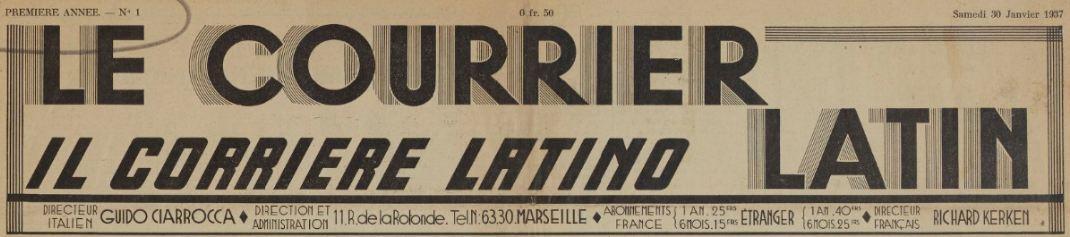 Photo (BnF / Gallica) de : Le Courrier latin. Marseille, 1937. ISSN 2124-9164.