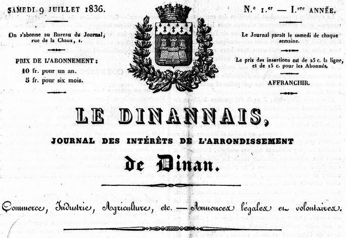 Photo (Côtes-d'Armor. Archives départementales) de : Le Dinannais. Dinan: Jean-Baptiste Huart, 1836-1873. ISSN 1963-7187.