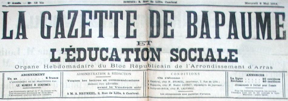Photo (Société des amis de Panckoucke) de : La Gazette de Bapaume et L'Éducation sociale. Cambrai, 1912-[1914 ?]. ISSN 2128-5691.
