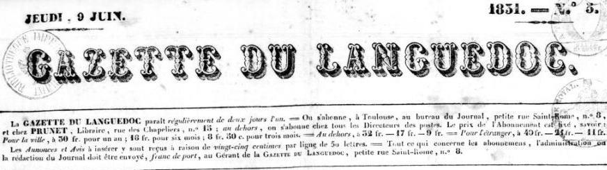 Photo (BnF / Gallica) de : Gazette du Languedoc. Toulouse, 1831-[1857 ?]. ISSN 2020-2776.