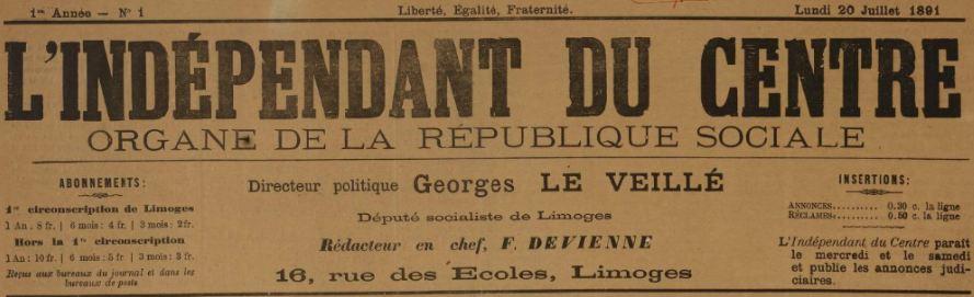 Photo (BnF / Gallica) de : L'Indépendant du Centre. Limoges, 1891-[1893 ?]. ISSN 2129-6073.