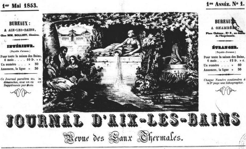 Photo (BnF / Gallica) de : Journal d'Aix-les-Bains. Aix-les-Bains, Chambéry, 1853-[1854 ?]. ISSN 2130-1662.