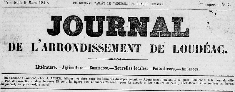 Photo (Côtes-d'Armor. Archives départementales) de : Journal de l'arrondissement de Loudéac. Loudéac: Impr. de Jules Anger, 1849-1871. ISSN 1282-8416.