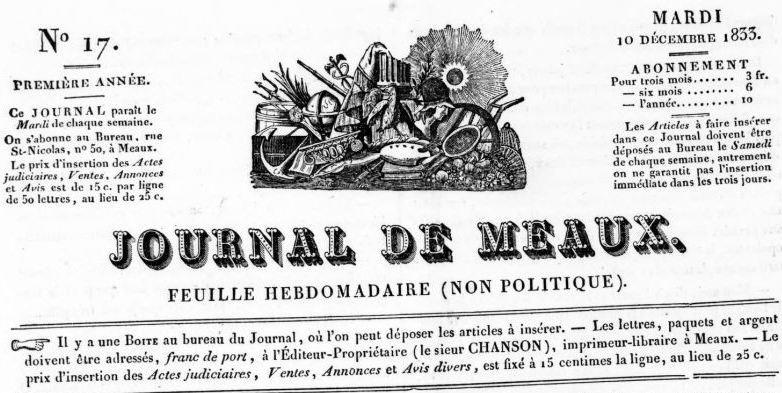 Photo (BnF / Gallica) de : Journal de Meaux. Meaux: J.-L. Chanson, 1833-1838. ISSN 2130-5234.