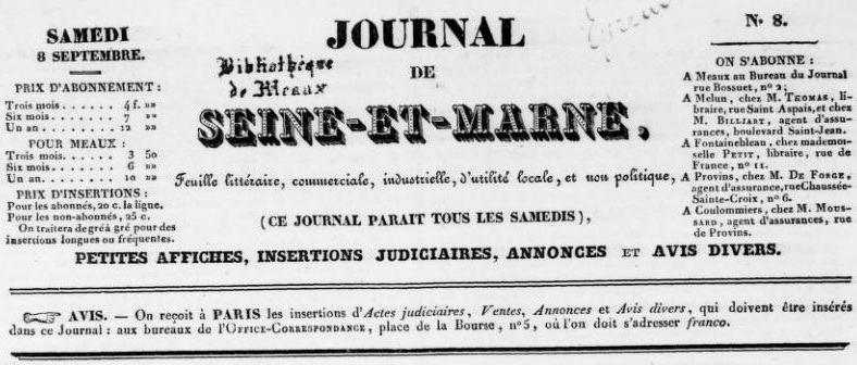 Photo (BnF / Gallica) de : Journal de Seine-et-Marne. Meaux, 1838-1939. ISSN 2130-6303.