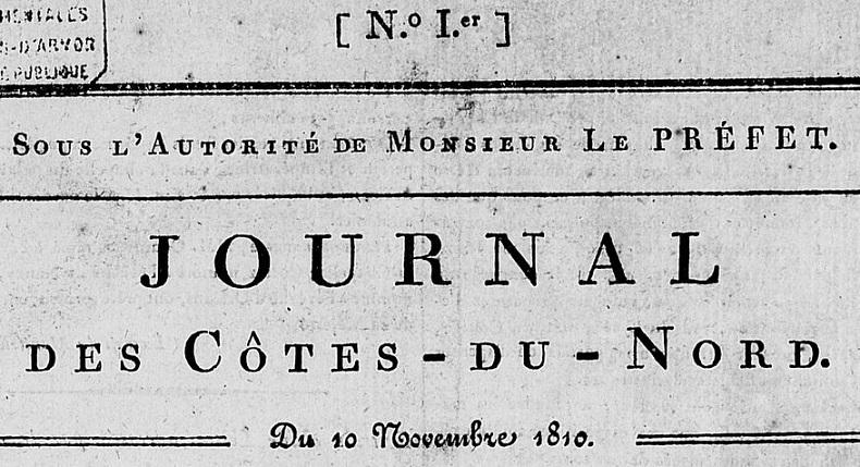 Photo (Côtes-d'Armor. Archives départementales) de : Journal des Côtes-du-Nord. Saint-Brieuc: Charles Beauchemin, 1810-[1821 ?]. ISSN 1966-1339.
