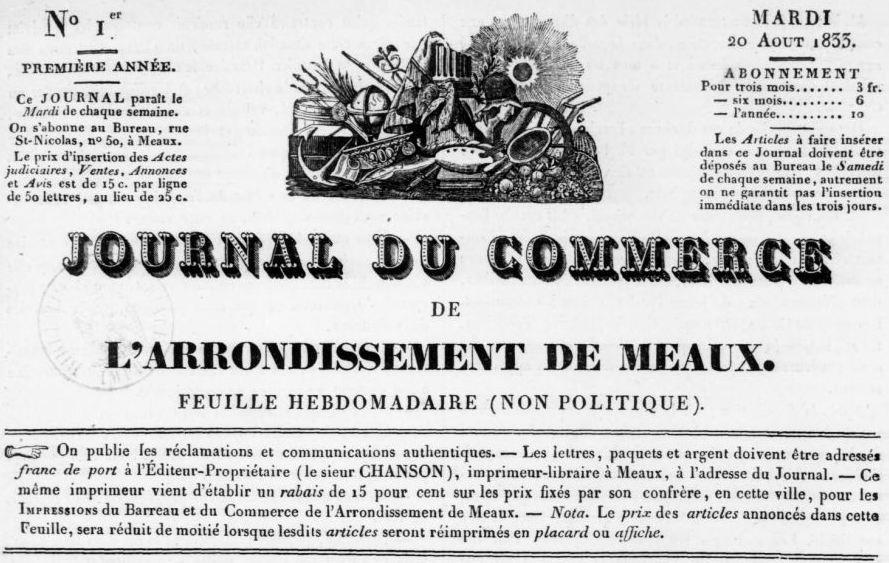 Photo (BnF / Gallica) de : Journal du commerce de l'arrondissement de Meaux. Meaux: J.-L. Chanson, 1833. ISSN 2130-842X.