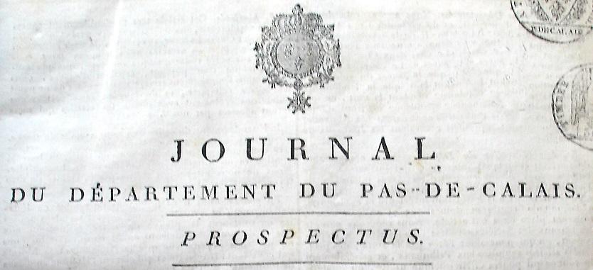 Photo (Société des amis de Panckoucke) de : Journal du département du Pas-de-Calais. Arras, 1816-1819. ISSN 2130-8756.