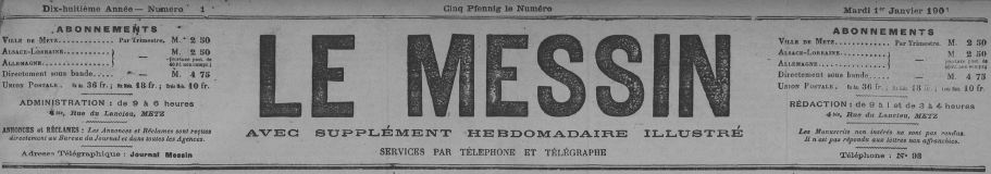 Photo (Metz. Bibliothèques-médiathèques) de : Le Messin. Metz, 1884-1947. ISSN 1160-4158.