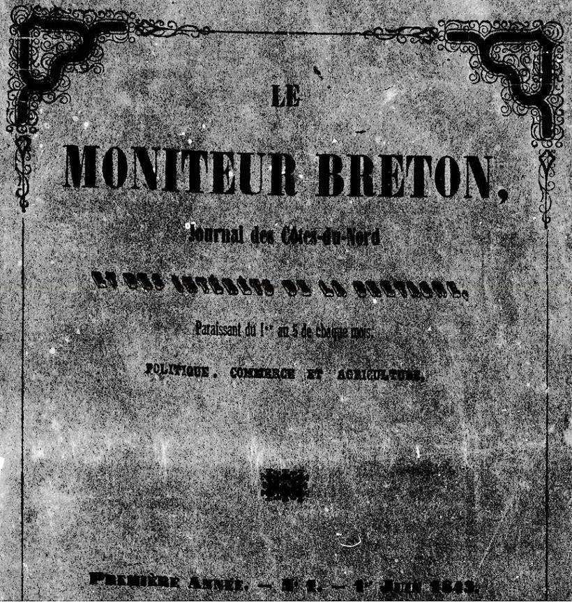 Photo (Côtes-d'Armor. Archives départementales) de : Le Moniteur breton. Paris: impr. de Vassal frères, 1843-1848. ISSN 1966-1258.