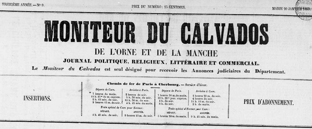 Photo (Calvados. Archives départementales) de : Moniteur du Calvados, de l'Orne et de la Manche. Caen, 1854-1939. ISSN 2132-4697.