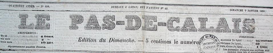 Photo (Société des amis de Panckoucke) de : Le Pas-de-Calais. Arras, 1878-1940. ISSN 2133-6113.
