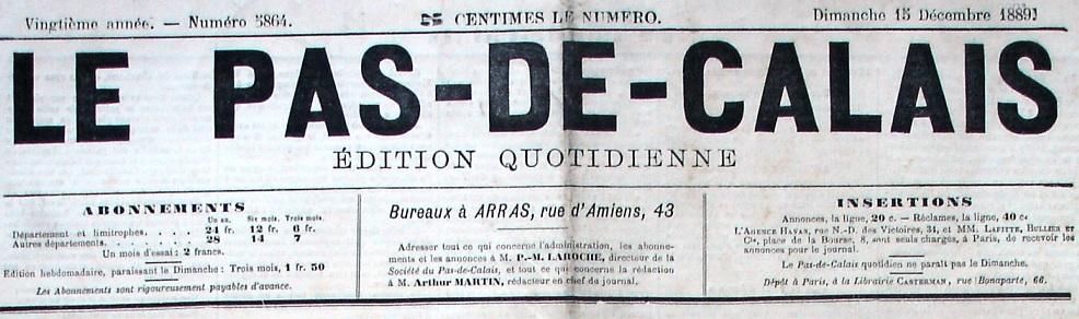 Photo (Société des amis de Panckoucke) de : Le Pas-de-Calais. Arras, 1870-1890. ISSN 2133-6121.