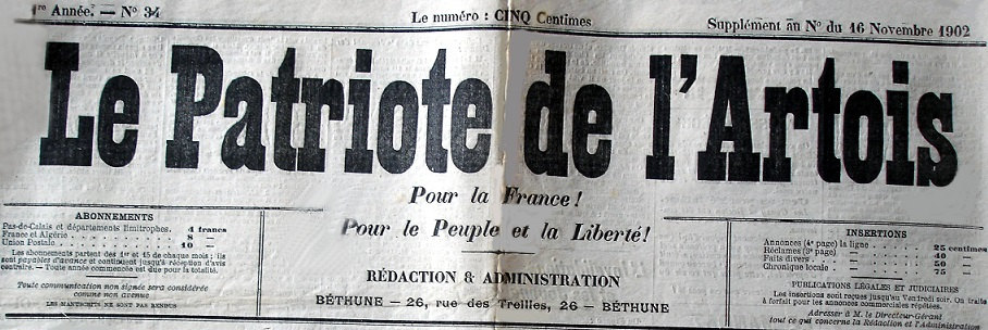 Photo (Société des amis de Panckoucke) de : Le Patriote de l'Artois. Béthune, 1902-[1918 ?]. ISSN 2133-6903.