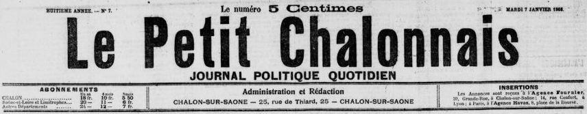 Photo (BnF / Gallica) de : Le Petit Chalonnais. Chalon-sur-Saône, 1901-1944. ISSN 2134-0315.