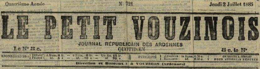 Photo (BnF / Gallica) de : Le Petit Vouzinois. Vouziers, 1882-1886. ISSN 2106-0908.