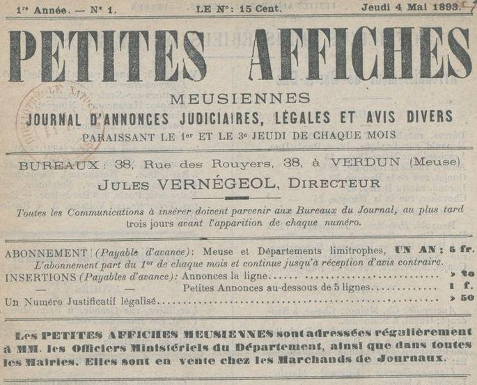 Photo (BnF / Gallica) de : Petites affiches meusiennes. Verdun, 1893. ISSN 2134-7409.