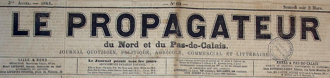 Photo (Société des amis de Panckoucke) de : Le Propagateur du Nord et du Pas-de-Calais. Lille, Arras, 1859-1883. ISSN 2135-5967.