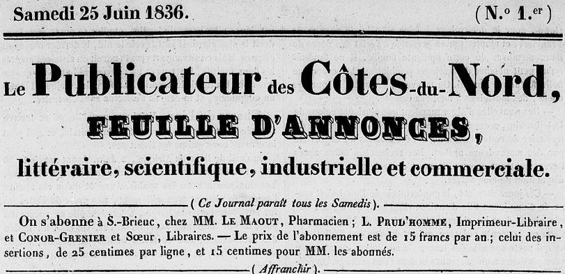 Photo (Côtes-d'Armor. Archives départementales) de : Le Publicateur des Côtes-du-Nord. Saint-Brieuc: Prud'homme, 1836-1916. ISSN 1966-1215.