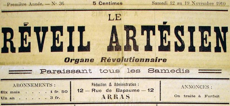 Photo (Société des amis de Panckoucke) de : Le Réveil artésien. Arras, 1910-1911. ISSN 2136-6748.