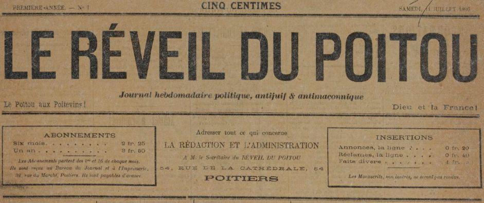 Photo (BnF / Gallica) de : Le Réveil du Poitou. Poitiers, 1896-1901. ISSN 2137-0095.