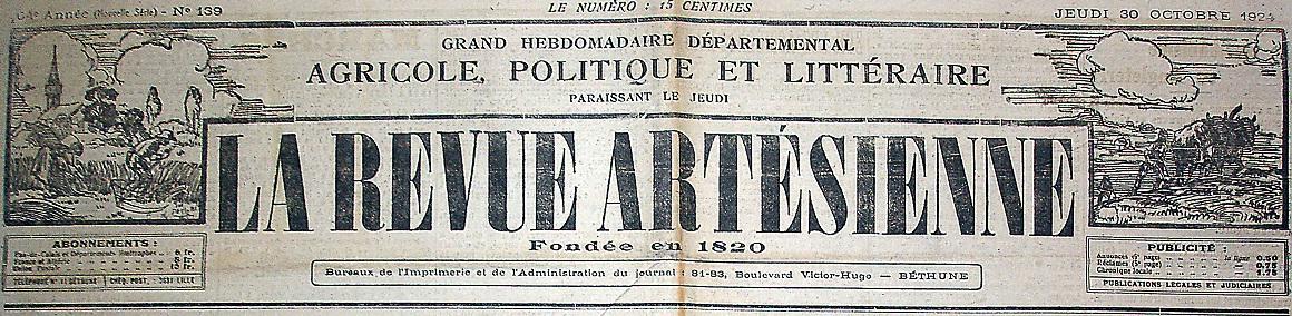 Photo (Société des amis de Panckoucke) de : La Revue artésienne. Béthune, 1832-1927. ISSN 2137-2500.