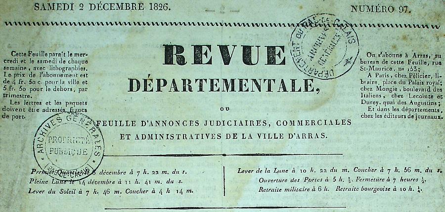 Photo (Société des amis de Panckoucke) de : Revue départementale ou Feuille d'annonces judiciaires, commerciales et administratives de la ville d'Arras. Arras, 1826-1828. ISSN 2137-3558.