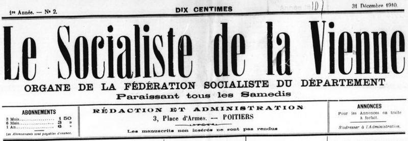 Photo (BnF / Gallica) de : Le Socialiste de la Vienne. Poitiers, [1910]-. ISSN 2138-1747.