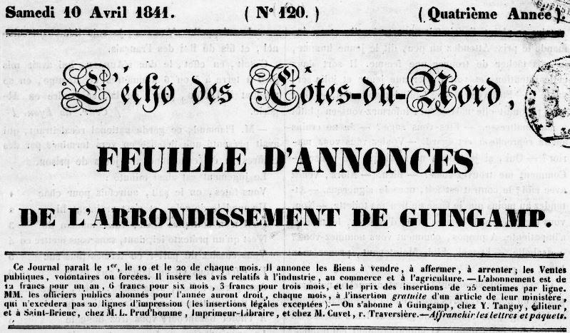 Photo (Côtes-d'Armor. Archives départementales) de : L'Écho des Côtes-du-Nord. Guingamp: Tanguy, 1838-1894. ISSN 1141-2232.