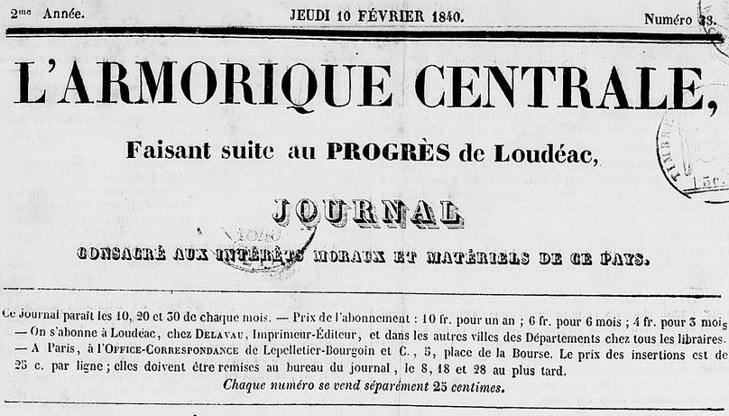 Photo (Côtes-d'Armor. Archives départementales) de : L'Armorique centrale. Loudéac: Delavau, 1840-1848. ISSN 1282-8394.