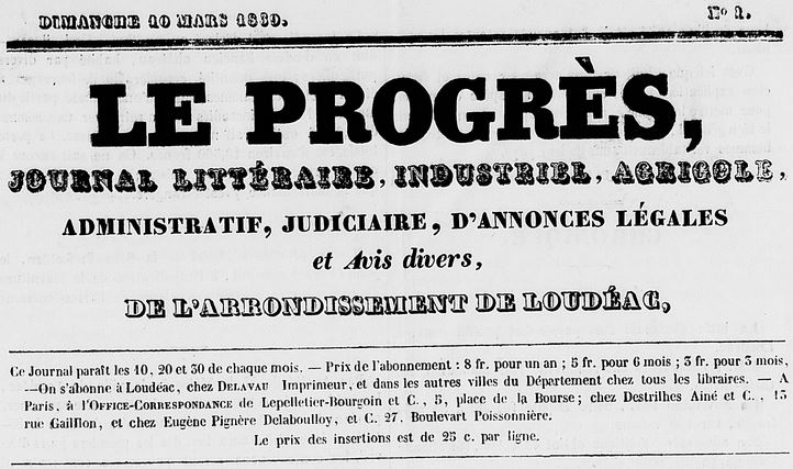 Photo (Côtes-d'Armor. Archives départementales) de : Le Progrès. Loudéac: Delavau, 1839. ISSN 1282-8386.