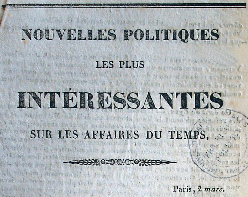 Photo (Société des amis de Panckoucke) de : Nouvelles politiques les plus intéressantes sur les affaires du temps. Arras: impr. Auguste Leclercq, [1831]. ISSN 2107-9250.