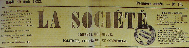 Photo (Société des amis de Panckoucke) de : La Société. Arras: impr. Lefranc, 1853-1855. ISSN 2107-9277.